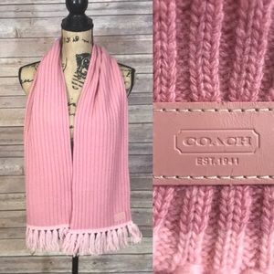 Coach Solid Pink Scarf with Fringe